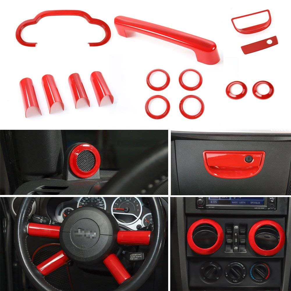 Dashboard Steering Wheel Speaker Air Vent Decoration Cover Trim Sticker for Jeep Wrangler 2007 2010 Interior