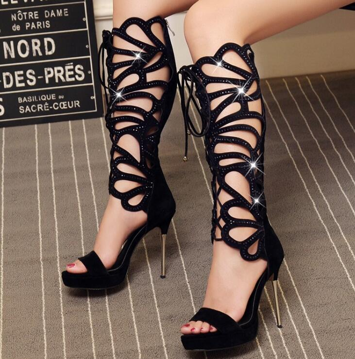 Metal Heel Crystal Straps Women Knee High Boots Open Toe Ladies Cut Out Gladiator Boots Female Dress Shoes Lace Up Front Shoes