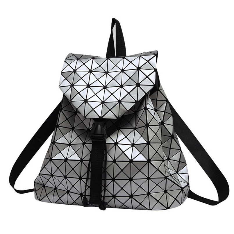 2017 Fashion Women backpack feminine geometric patchwork sequin plaid female backpacks for teenage girls bagpack drawstring