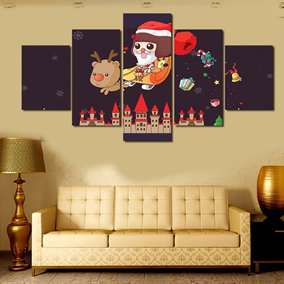 HD Canvas Oil Painting Home Decorative Modular 5 Panel Santa The ...