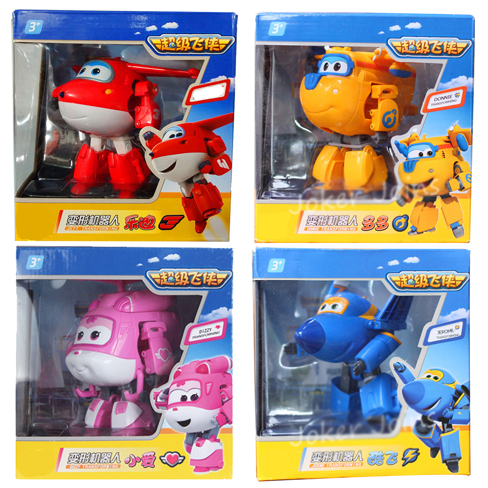 4 Pieces Set Super Wings 15cm Big Planes Deformation Airplane Robot Action Figures Transformation Toys 13styles 15cm super wings big size planes transformation robot action figures toys super wing mini jett toy for christmas gift