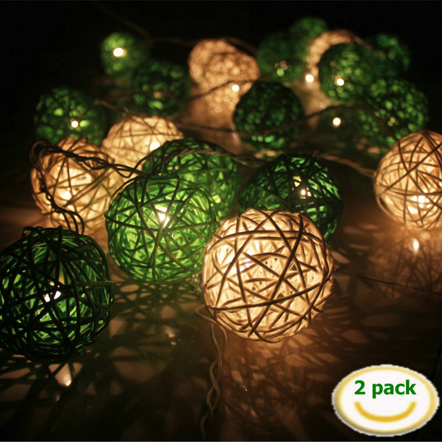 Outdoor decorative lights, festive wedding LED String Lights light Battery Operated LED Lanterns 2.25M (2 Pack) LED String Light