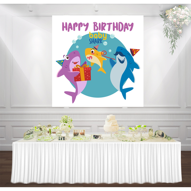 baby shark Birthday party backdrop for boy Photography photo booth Banner background Cute shark family wall Decorations poster