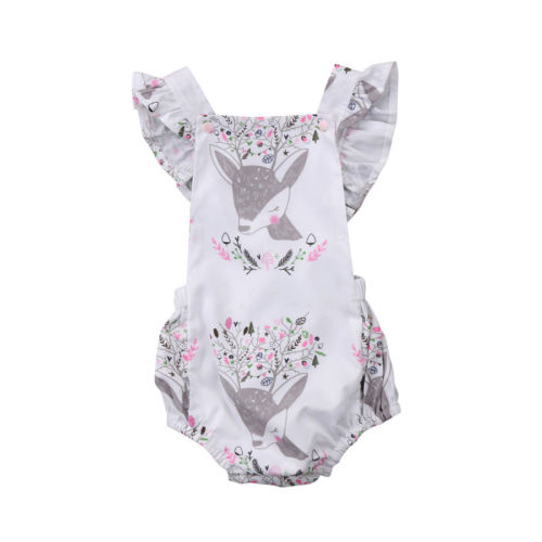 2018 Toddle Infant Newborn Baby Girls Floral Foxes Print Romper Jumpsuit Backless Clothes Outfits Summer Baby Clothing 0-24M