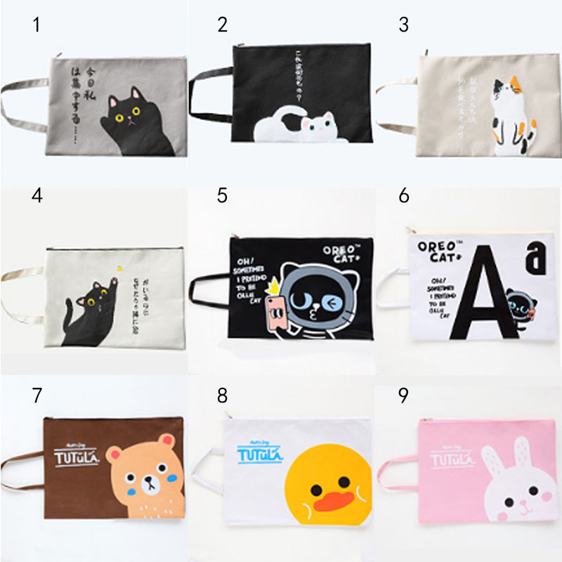 Folder Bags Canvas Portable Large Capacity 1 PC Document Filing Bag Student Gift Stationery Pouch Cartoon