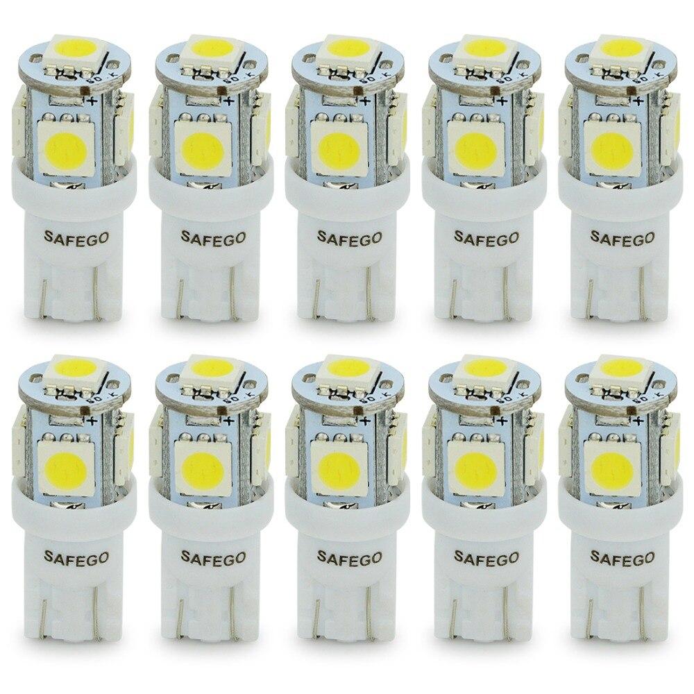 Safego 10pcs T10 led bulb 5 SMD 5050 LED T10 W5W 194 168 Car Light Source lamp 5 led dash indicator signal side wedge tail light источник света для авто safego 10 t10 194 w5w 5 smd t10 5led smd 5050 12v