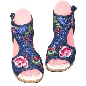 Image 3 - Verão feminino floral bordado peep toe sandálias casuais étnicas vintage tornozelo wrap vestido sapato bohemia estilingue praia apartamentos