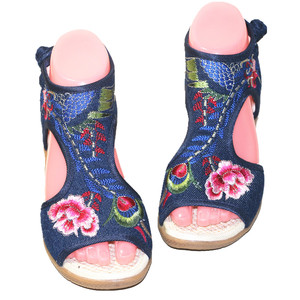 Image 3 - Womens Summer Floral Embroidery Peep Toe Casual Sandals Ethnic Vintage Ankle Wrap Dress Shoe Bohemia Slingback Beach Flats