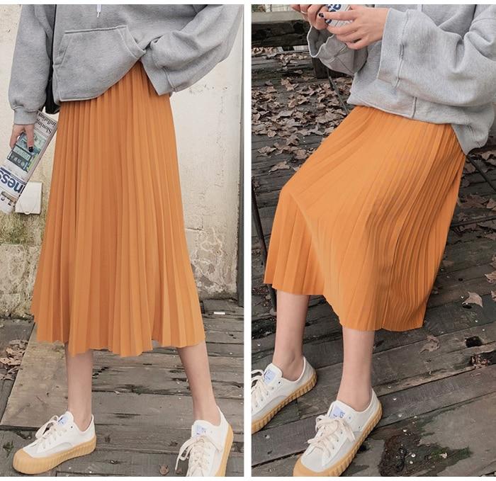 Surmiitro Elegant Solid Midi Pleated Skirt Women 19 Autumn Winter Ladies Korean High Waist A-line School Long Skirt Female 7
