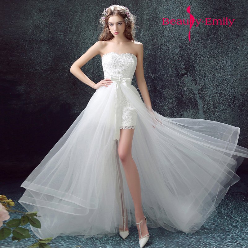 Detachable Trains For Wedding Gowns: Short Wedding Dress For Summer Wedding Holiday Shooting