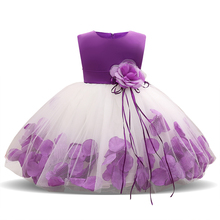 цена на Kids Infant Girl Flower Petals Dress Children Bridesmaid Toddler Elegant Dress Vestido Infantil Formal Party Dress Baby Clothing