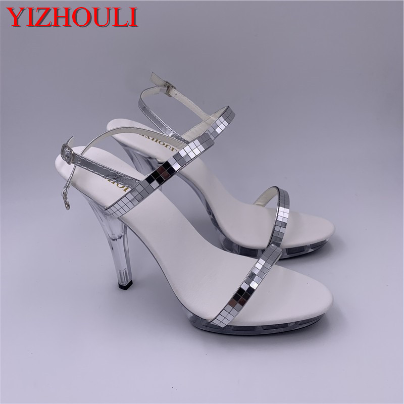 Style, beautiful, silver shiny high - heeled shoes, <font><b>12</b></font> <font><b>cm</b></font> sexy model <font><b>sandals</b></font> image