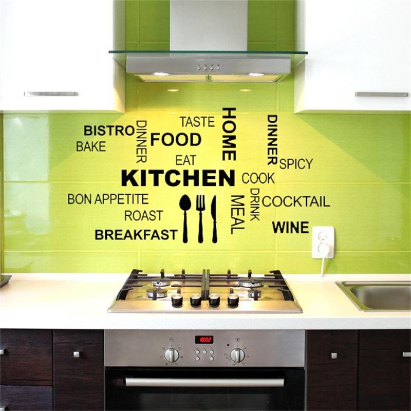 Creative art kicthen wall stickers home decor Knife fork spoon FOOD ...