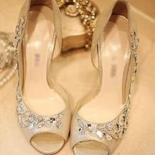 Высокие каблуки Золото Горный Хрусталь Обувь/свадебная обувь для Новобрачных Обувь Bridemaid Платье Сандалии Peep Toe Партия Вечерние Туфли