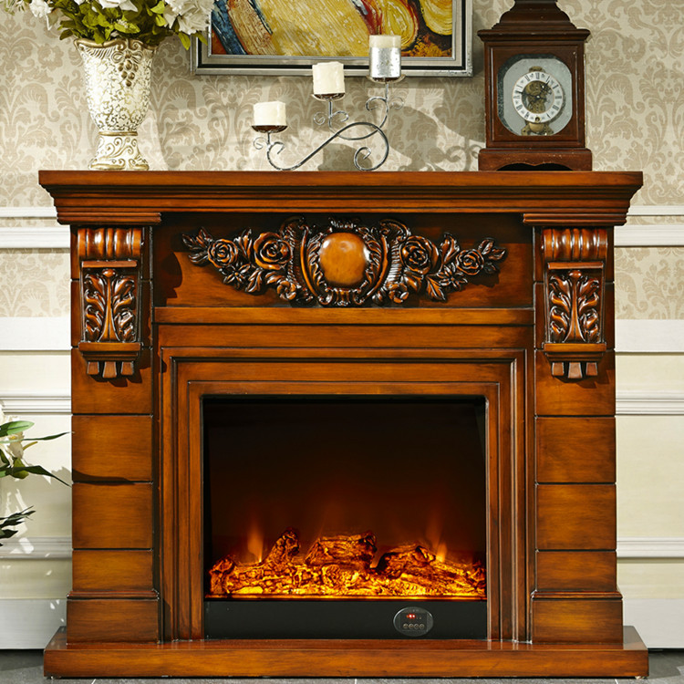 fireplace set wooden mantel w140cm plus electric fireplace insert burner living room decor artificial optical flame - Wood Mantels