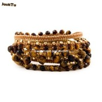 wholesale fashion jewelry tigers' of eye cotton cord wrap bracelet