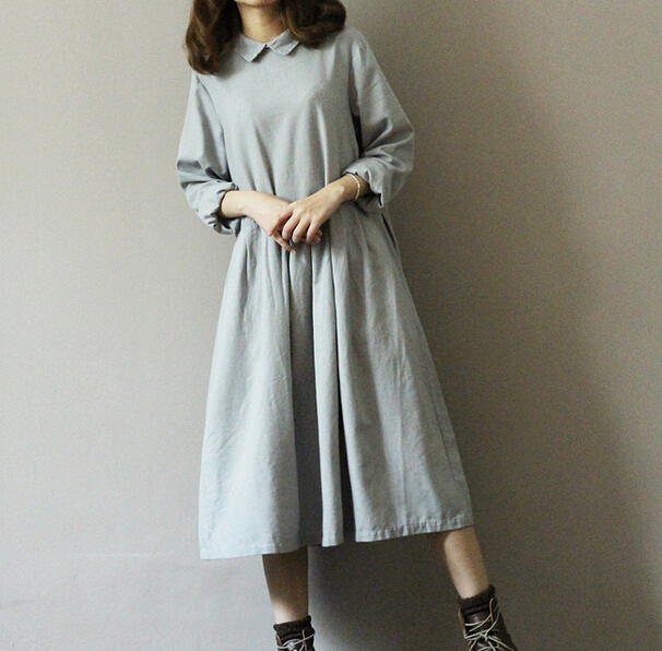 vintage Art solid linen Back buttons Turn down collar long sleeve loose long dress mori girl