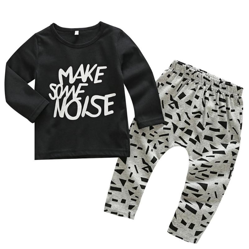 2pcs Spring Baby Clothes Set Letters Cartoon Long Sleeve T-shirt + Pants
