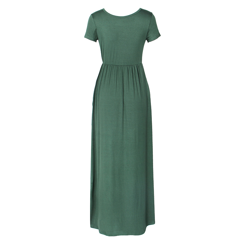 Summer Maxi Long Dress Women Femme Boho Long Dresses Plus Size Casual Pockets New Short Sleeve O-neck Solid Dress S-2XL GV598 5