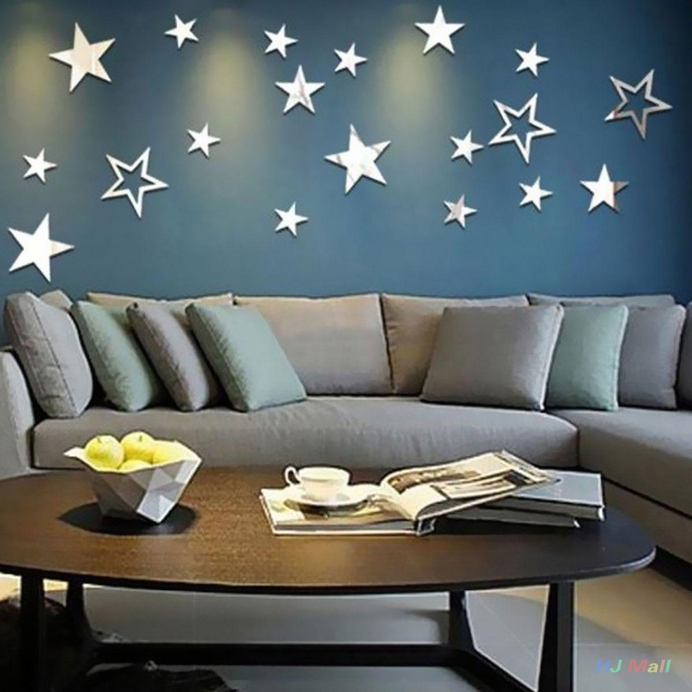 Mirror Stars Creative Art Removable Wall Stickers Hollow Out Bedroom Home Decor Us18