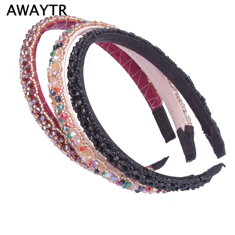 AWAYTR 2017 Trendy Colourful Rhinestones Elastic Hairband Hair Accessories for Women Party Vintag Crystal Headband Tiara Gift ...