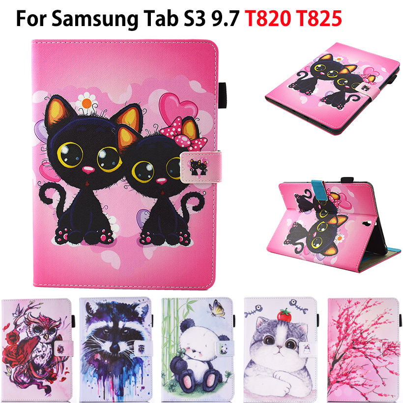 Fashion Cartoon Leather Case For Samsung Galaxy Tab S3 9.7 T820 T825 Cases Cover Tablet Owl Cat Dog Pattern Stand shell Funda