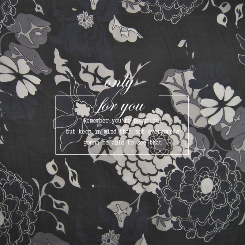 LEO&LIN Black flower 100% silk chiffon dress shirt fabric spring and summer Baotou (1 meter)