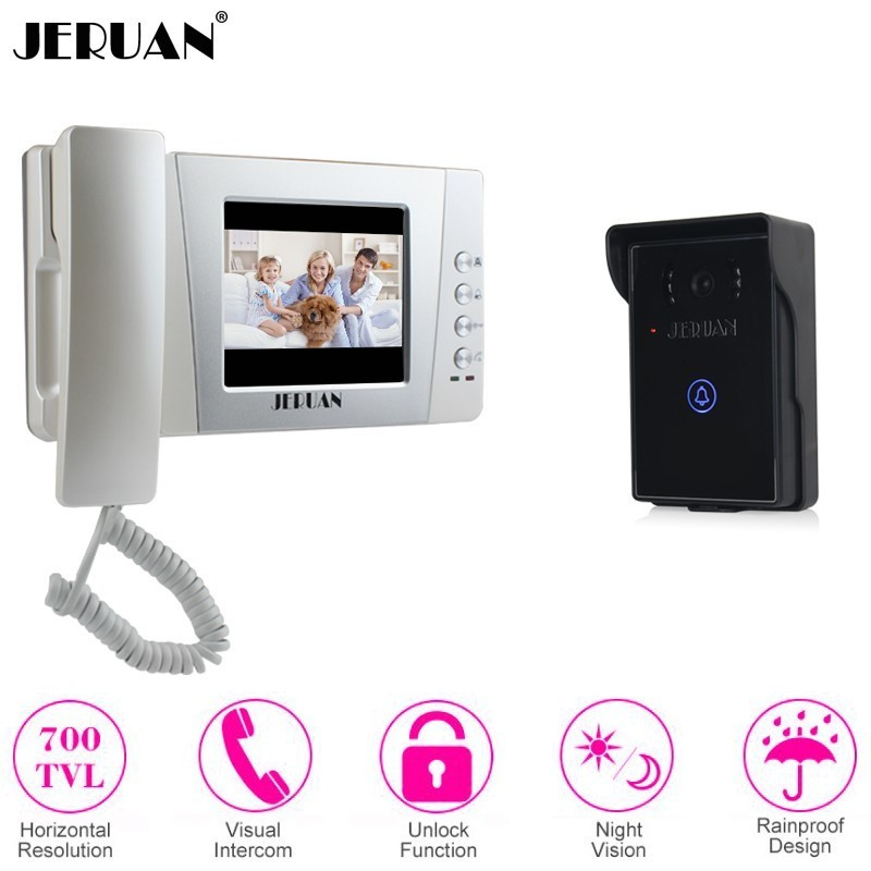 JERUAN Clear Wired 4.3 Inch LCD Color Video Doorbell Door Phone Intercom System kit Touch Key Night Vision Camera FREE SHIPPINGJERUAN Clear Wired 4.3 Inch LCD Color Video Doorbell Door Phone Intercom System kit Touch Key Night Vision Camera FREE SHIPPING