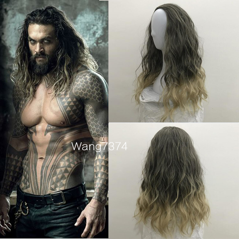 Movie Justice League Aquaman wig Aquaman Role Play Poseidon Hair Comic Cosplay Jason Momoa wig costume +Wig Cap