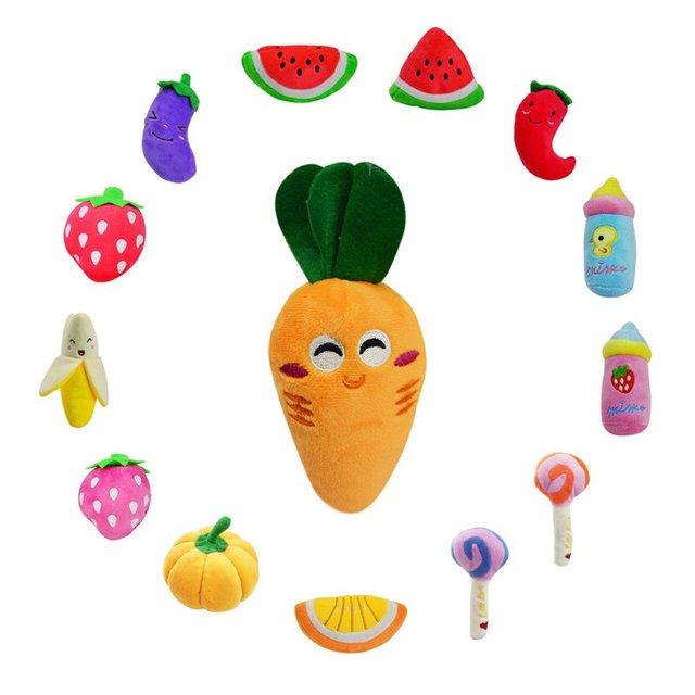 Pet Chew Squeaker Squeaky Peluche Suono Frutta Verdura E Biberon Dog Toys 13 Disegni
