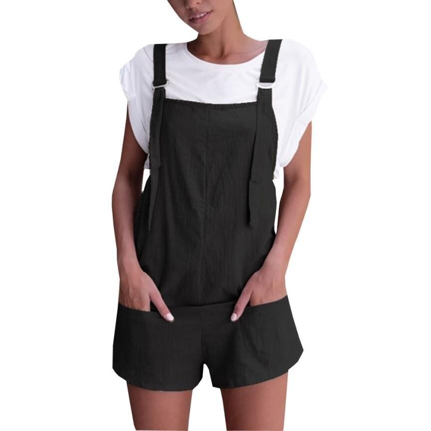 2018 Summer New Womens Jumpsuit Elastic Waist Dungarees Linen Cotton Pockets Rompers Playsuit Shorts Pants