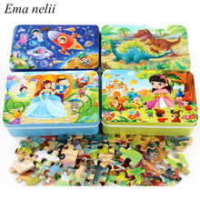 60 Piece Wooden Jigsaw Puzzle Cartoon Plane Puzzles Interactive Toy Baby Educational