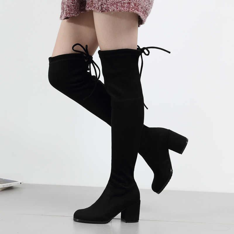 Sexy élastique troupeau coupe mince sur le genou bottes femmes chaussures 2019 automne hiver dames talon haut longue cuisse haute botas