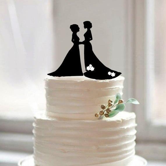 Braut Und Braut Silhouette Kuchen Topper Gleichen Geschlechts