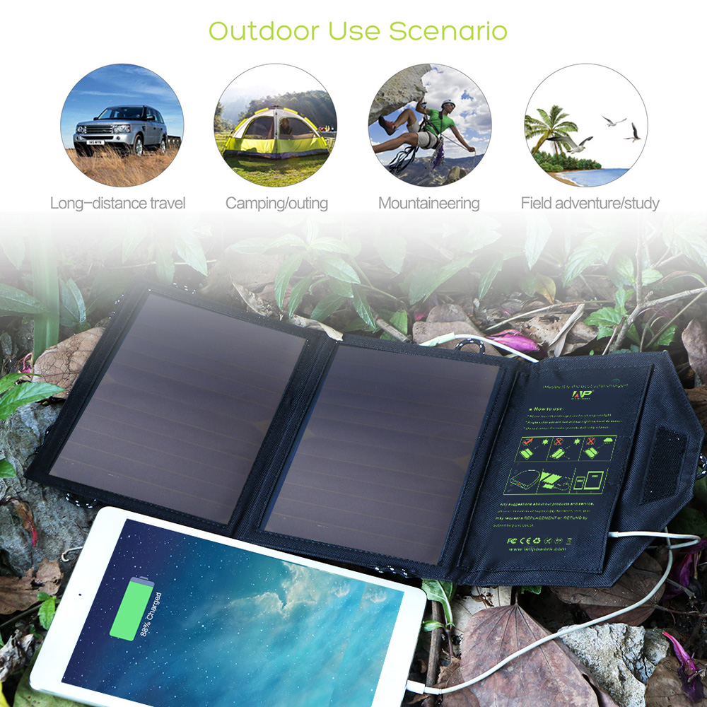 Portable Solar Panels Chargers Dual USB 5V 14W for iPhone 6 6s 7 8 iPhone X Xr Xs Xs max iPad mini iPad air Samsung LG Sony.