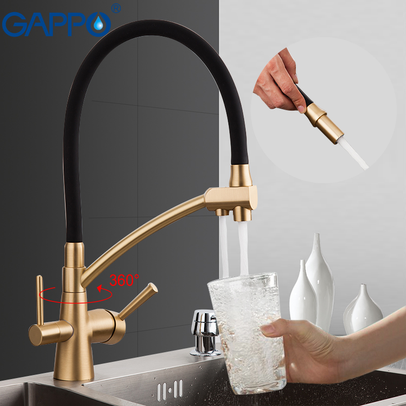 GAPPO G4398-1 Kitchen Faucet Gold Kitchen Mixer Tap With Filtered Water Tap Brass Faucet Mixer Water Crane Torneira Para Cozinha