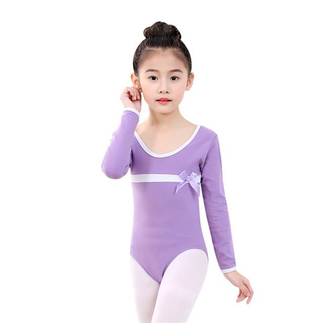45dfb98756 Girls Ballet Leotards Dancewear Bodysuits Kids Children Long Sleeve Bow Tie  Athletic Gymnastics Costumes