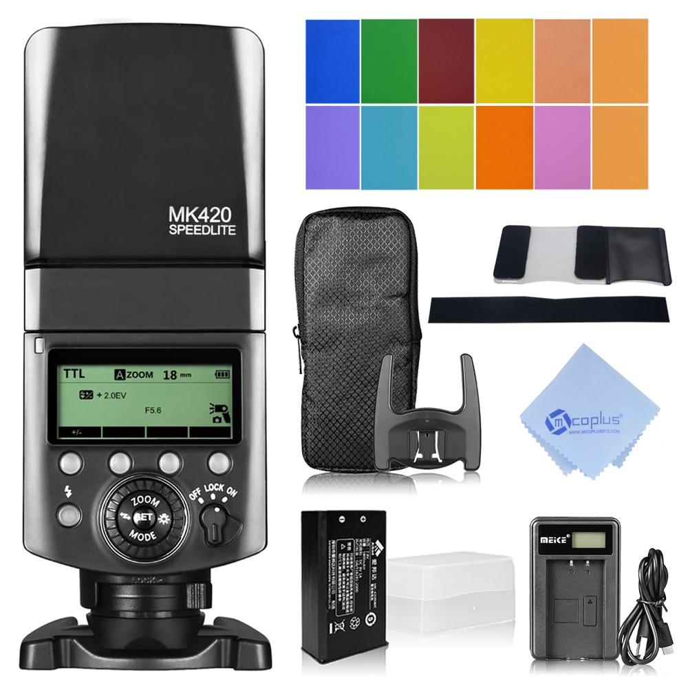 Meike MK-420F LCD Multi-Functional Long-Lasting Lithium Battery Flash Speedlite for Fuji Digital Camera meike mk d750 battery grip pack for nikon d750 dslr camera replacement mb d16 as en el15 battery