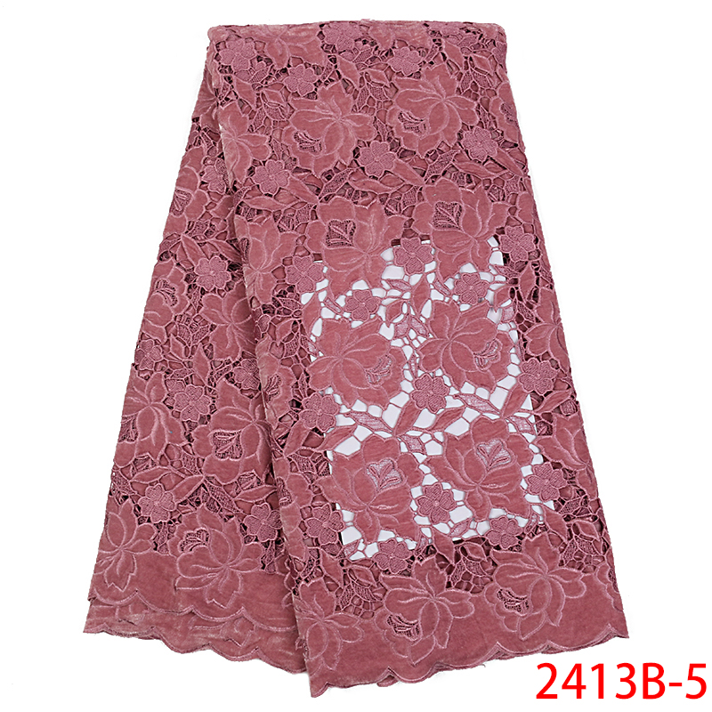 High-End Laces 2019 Guipure Velvet Lace Fabric African Water Soluble Laces Fabric For Women Wedding Party Dress KS2413B-5