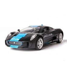 1:32 Scale Jaguar C X75 All Metal Body Diecasting Model Pull Back Sound Light Toys For Childrens Birthday Gift For Boys