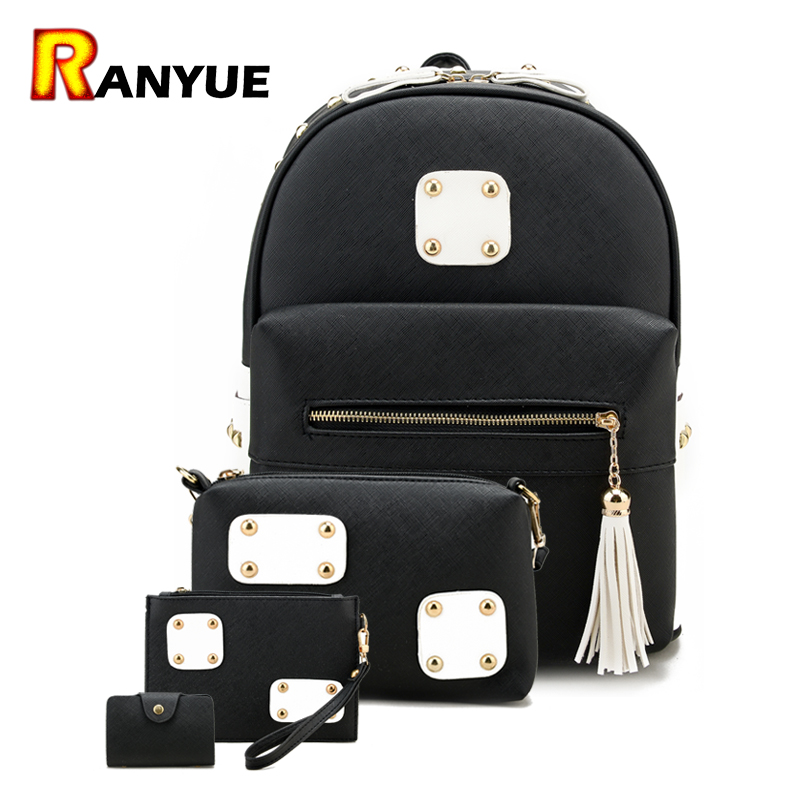 4pcs Tassel Rivet Women Backpacks For Teenage Girls School Bag Backpack Set Pu Leather Ladies Shoulder Bag Female Backpack Purse vintage tassel women backpack nubuck pu leather backpacks for teenage girls female school shoulder bags bagpack mochila escolar