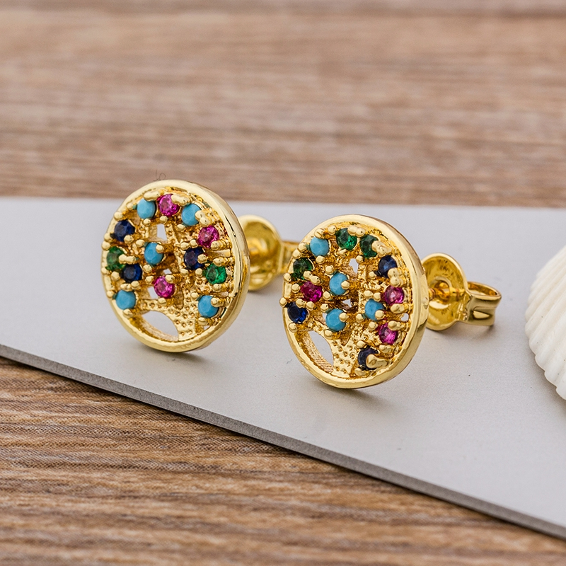 Classic Tree Of Life Stud Earrings For Women Crystal Gold Earring Top Quality CZ Copper Zircon Ears Jewelry Ethnic Gift