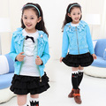 Kids Girls Coats New  Children Lace Bow Long Sleeved Cardigan Jacket Clothes Blue Pink Red
