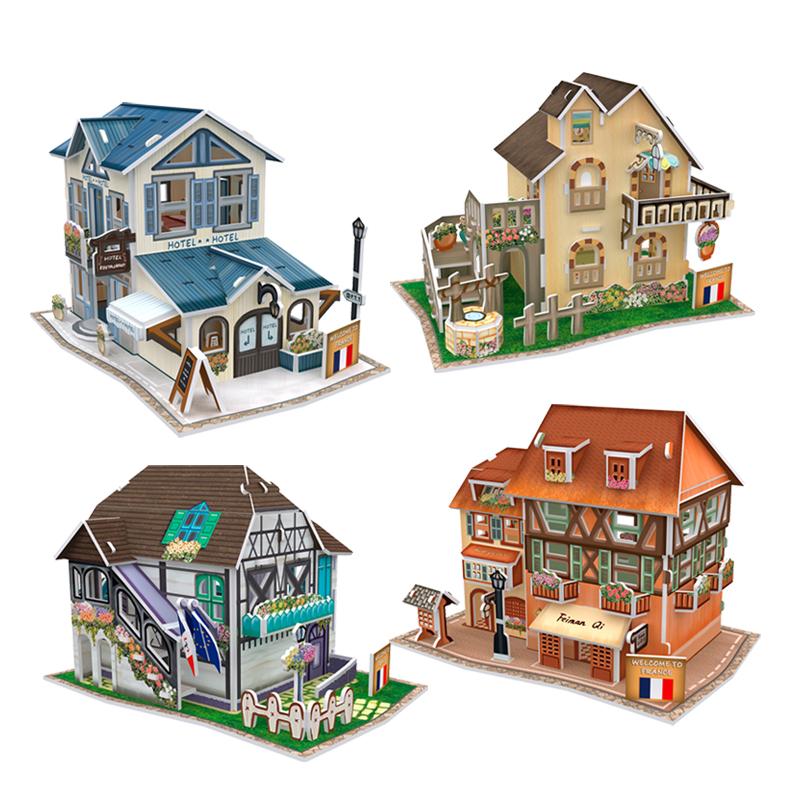 CubicFun Cardboard Model Toy DIY France House 3D Paper Puzzle Assembly Building Kits Puzzles For Adults Gift st peter s basilica cubicfun 3d educational puzzle paper