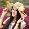 2013 Women S Flower Hat Summer Large Brim Straw Braid Sun Shading Beach Cap Dome Sunscreen
