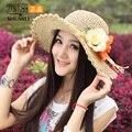 Moda das mulheres novas do verão flor chapéu de palha chapéu de praia grandes copas palha chapéu de sol cúpula protetor solar para as mulheres, frete Grátis
