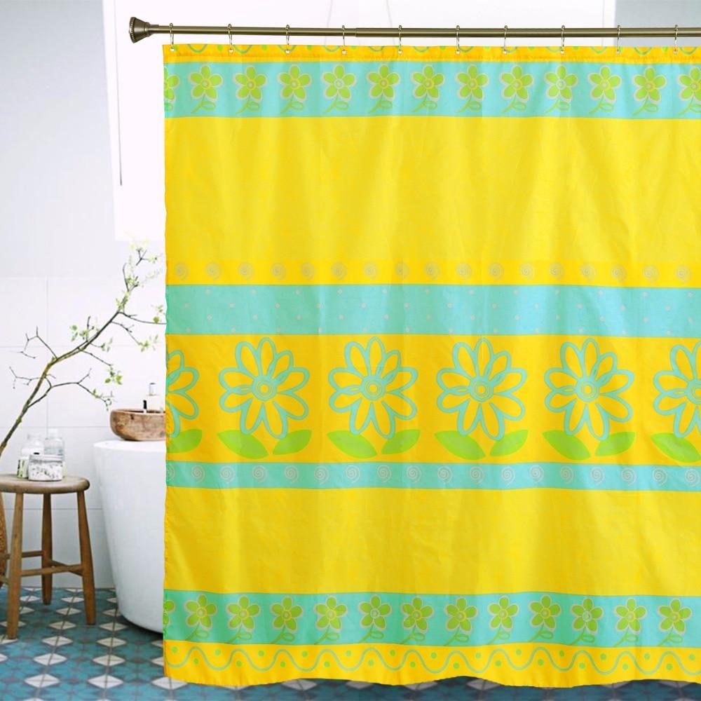Sunflower shower curtain hooks - Sunflower Shower Curtain Yellow Blue Stripe Plant Bath Curtain Polyester Bathroom Decor Shower Curtains Christmas Gift