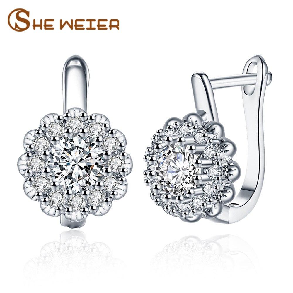 SHE WEIER korean small geometric earings fashion jewelry accesories gifts for girl zircon earrings for women ear rings