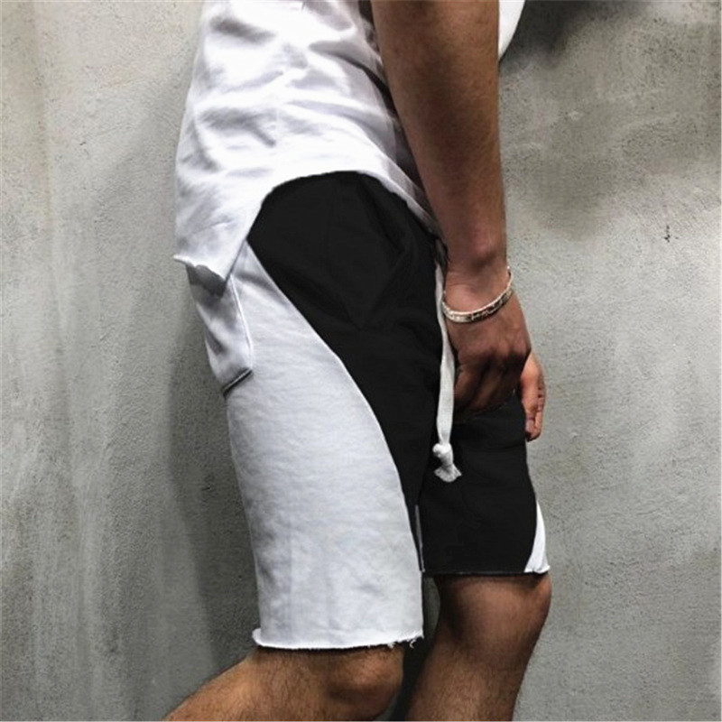 2019 Summer Cotton Loose Patchwork  Casual Shorts Man Gyms Fitness Sweatpants Jogger Workout Brand Fashion Short Pants(China)