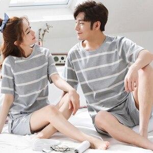 Image 2 - Cặp đôi Cotton Bộ Đồ Ngủ Bộ Nữ Mùa Hè 2019 Sọc Bộ Pyjama Nam Đồ Ngủ Homewear Phòng Chờ Quần Áo Nữ Pijama